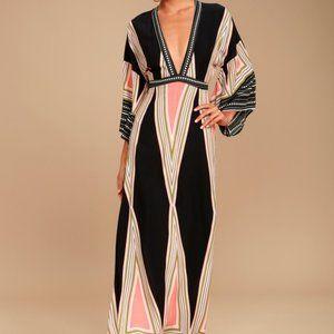 Lulu's Montecito Print Maxi Dress - Black